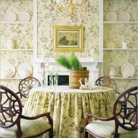 Скатерть на обеденном столе кухни в стиле прованс