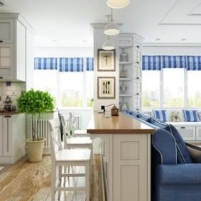 Барная стойка в роли разделителя пространства кухни-гостиной