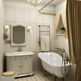Прямая штора над ванной из белого акрила