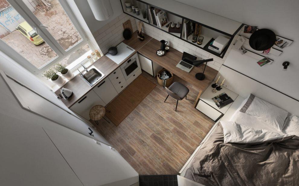 Дизайн квартиры-студии с кухней и кроватью