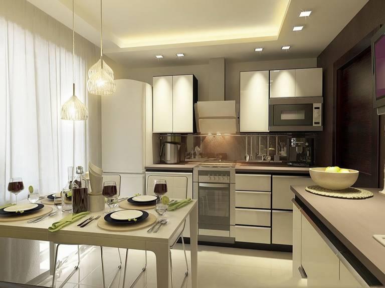 расстановка мебели и техники на кухне фото обзор