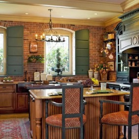 расстановка мебели и техники на кухне кантри
