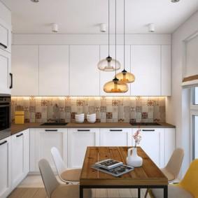 расстановка мебели и техники на кухне в белом цвете