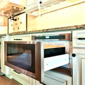 размещение микроволновки на кухне интерьер идеи