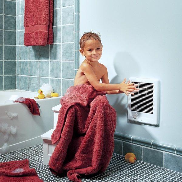Настенный обогреватель в интерьере ванной комнаты