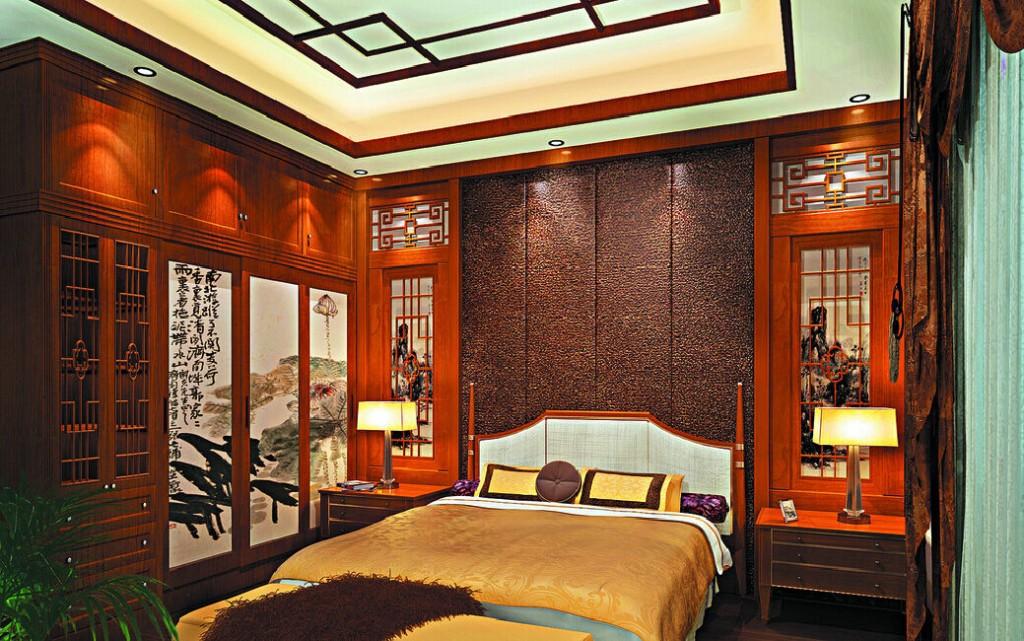 Дизайн спальной комнаты с дорогой деревянной мебелью
