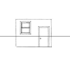Линия горизонта на рисунке кухни в перспективе