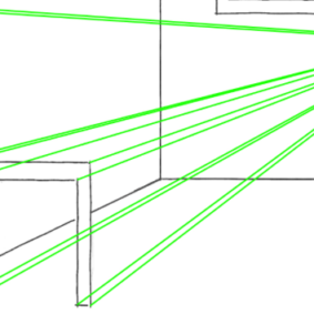 Построение стула на рисунке в перспективе