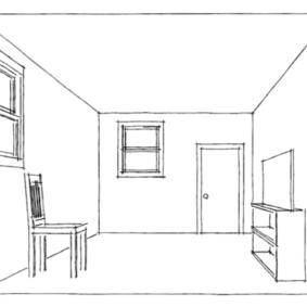 Черно-белый рисунок кухни от руки