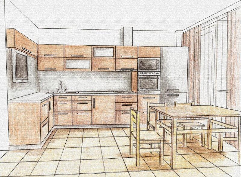 Дизайн-проект кухни площадью 13 кв м