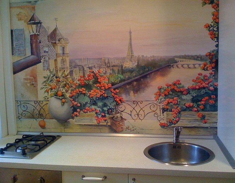 Роспись стены кухни в рабочей зоне
