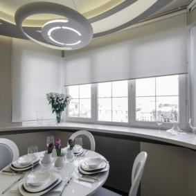 рулонные шторы на кухне идеи интерьер