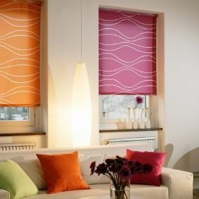 рулонные шторы на кухне дизайн фото