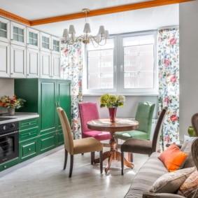 рулонные шторы на кухне фото интерьера