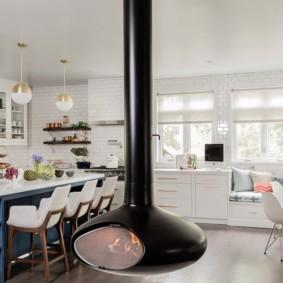 рулонные шторы на кухне фото виды