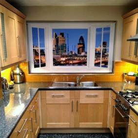 рулонные шторы на кухне интерьер