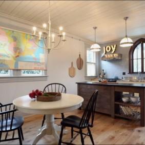 рулонные шторы на кухне варианты идеи
