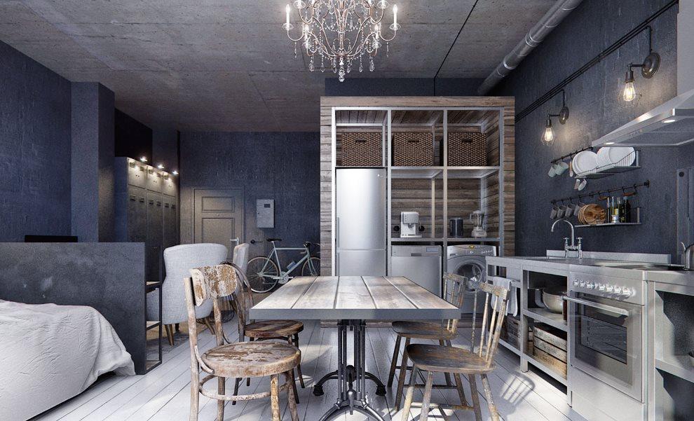 Темно-синие стены кухни-гостиной индустриального стиля