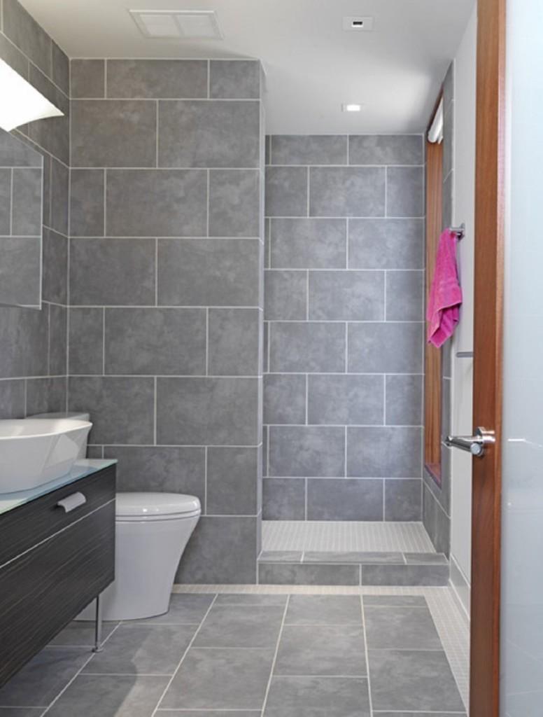 Серый цвет в интерьере ванной комнаты с душевой кабиной