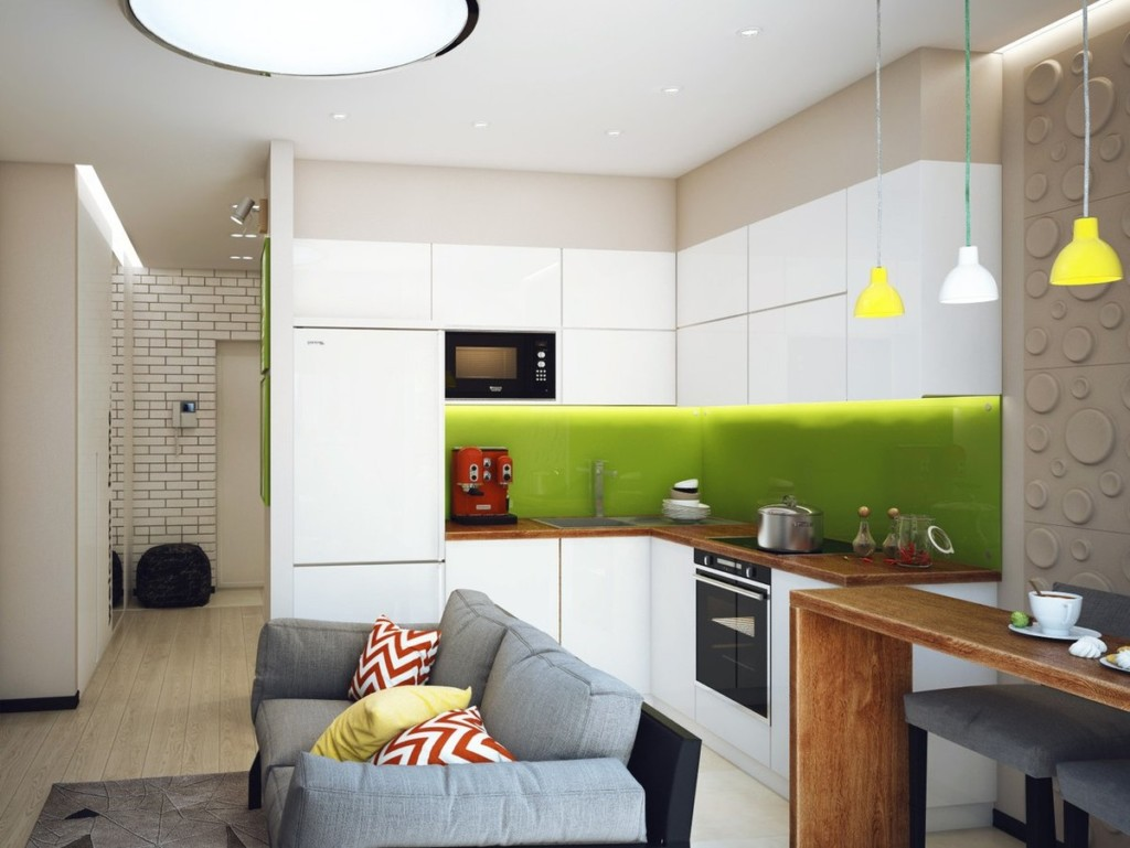 Зонирование небольшой кухни-гостиной с помощью дивана