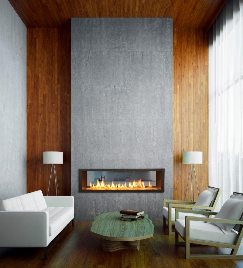 Серый камин в маленькой гостиной современного стиля