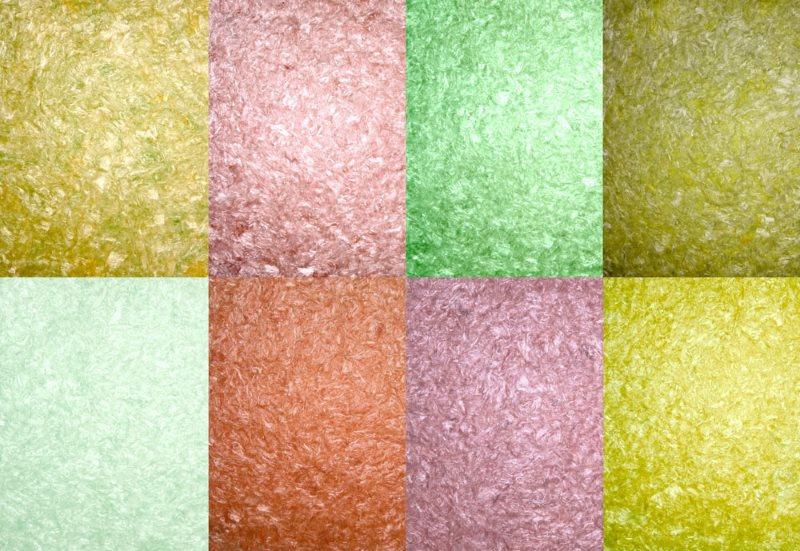 Примеры поверхностей шелковых жидких обоев
