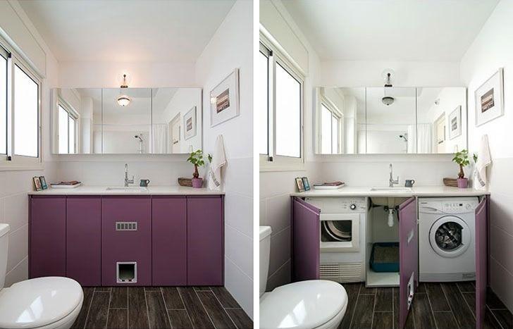 Шкаф с фиолетовыми дверками для стиральной машинки