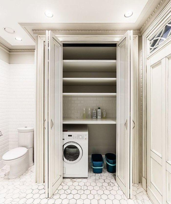 Дверь-гармошка на шкафу со стиральной машинкой