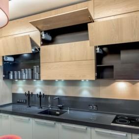 шкафы до потолка на современной кухне дизайн фото