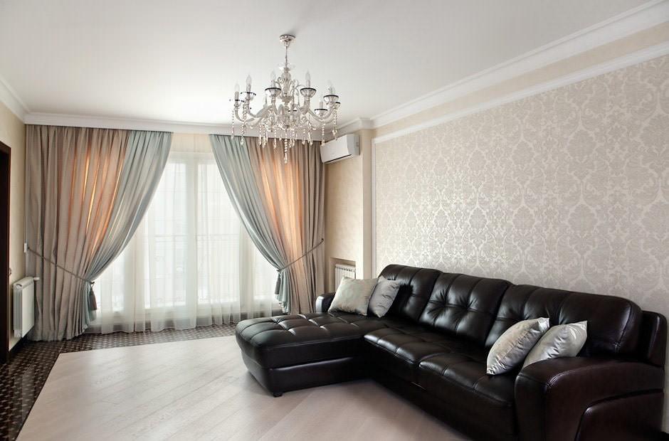 шторы в гостиной фото видов