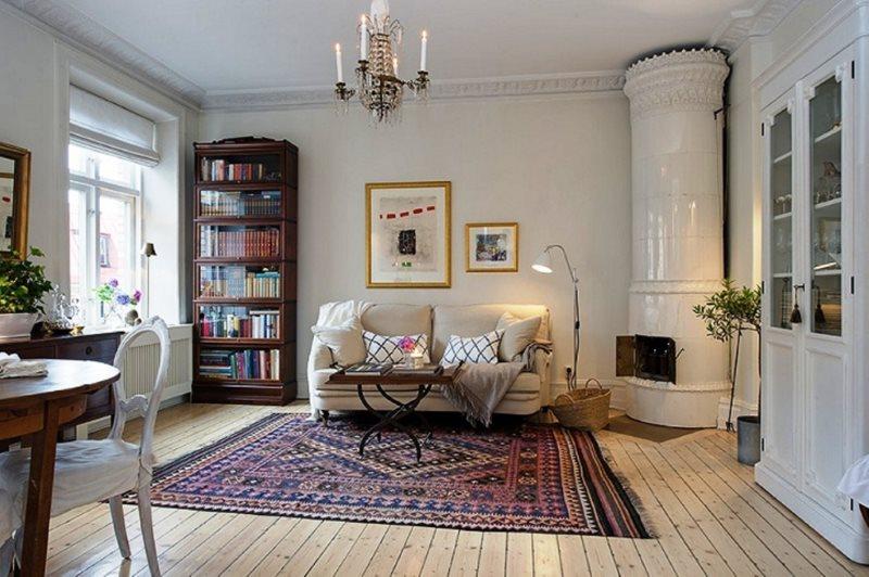 Светлая комната в стиле шведского кантри