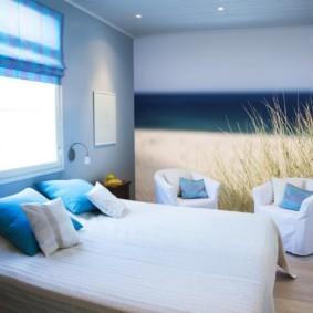 синяя спальня декор фото