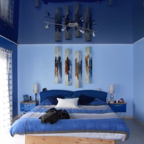 синяя спальня дизайн фото