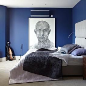 синяя спальня фото декор