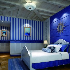 синяя спальня фото дизайн