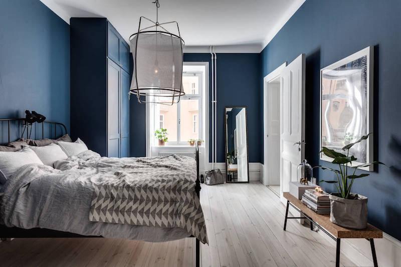 синяя спальня идеи декор