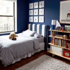 синяя спальня идеи декора