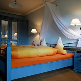 синяя спальня интерьер фото