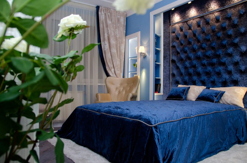 синяя спальня интерьер идеи