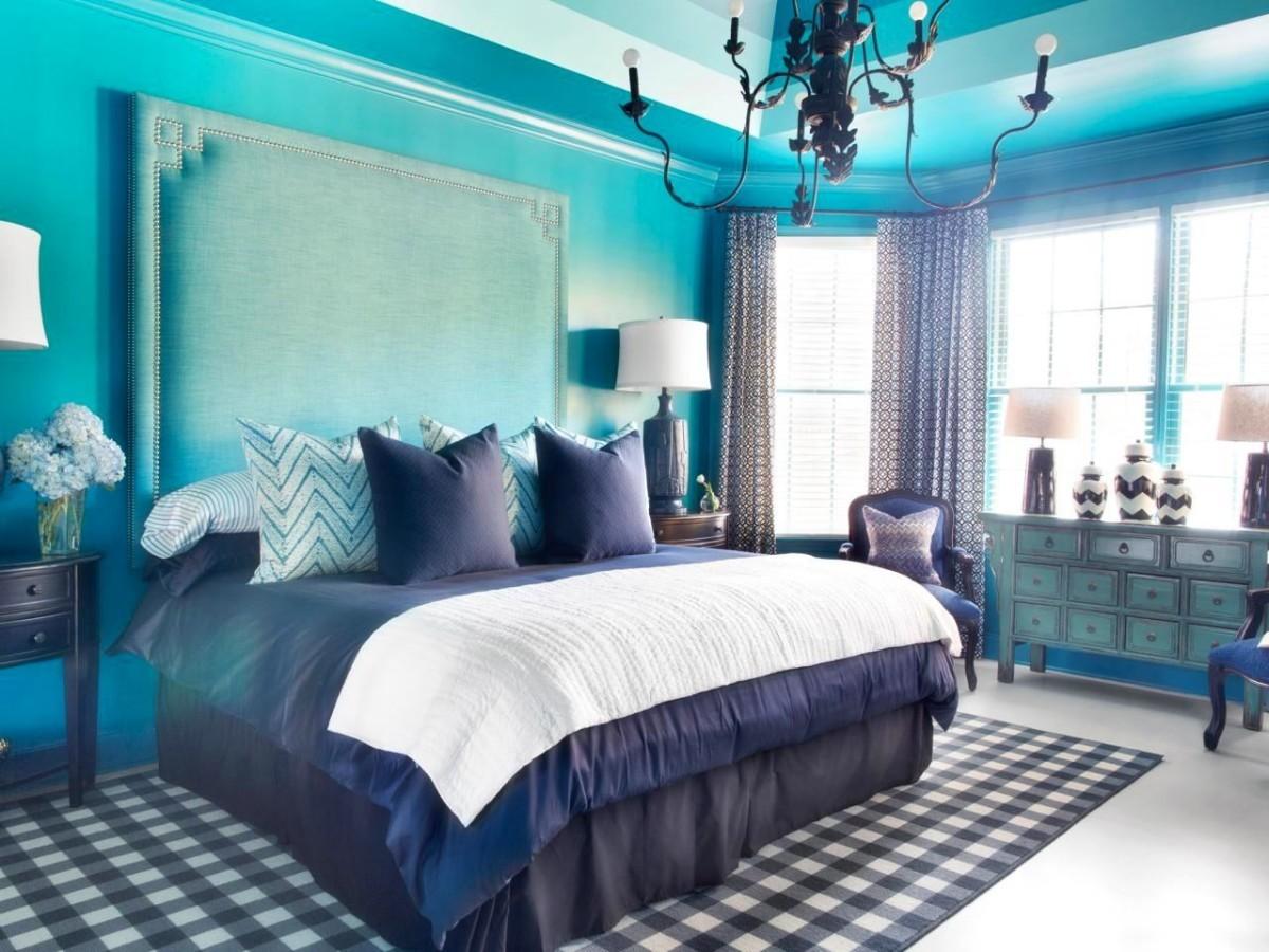 синяя спальная комната