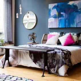 синяя спальня декор идеи