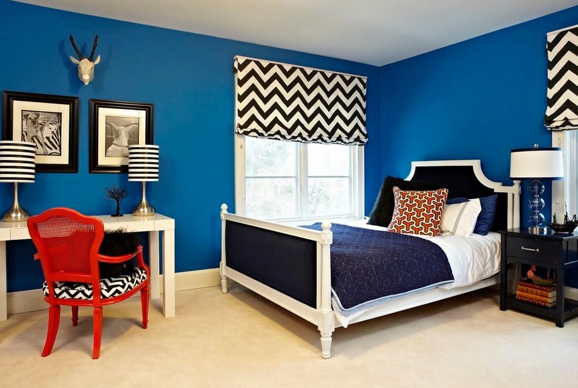 синяя спальня фото дизайна