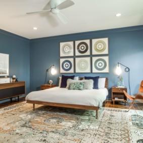 синяя спальня фото интерьера
