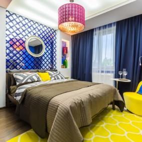 синяя спальня фото оформления