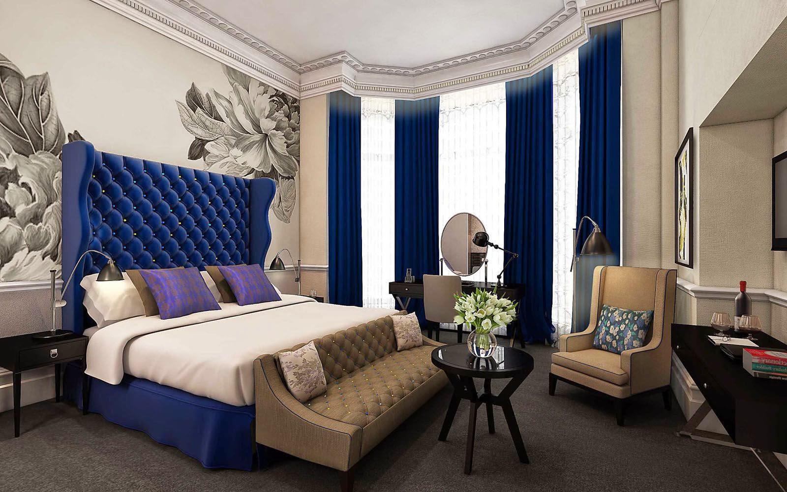 синяя спальня фото варианты