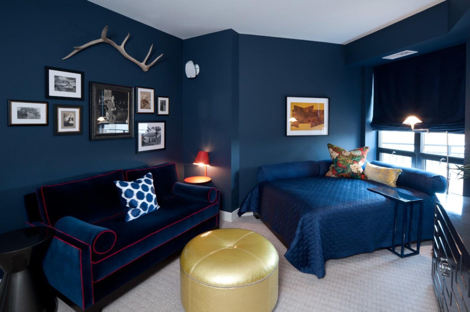 синяя спальня фото видов