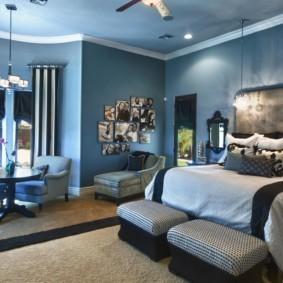 синяя спальня идеи интерьера