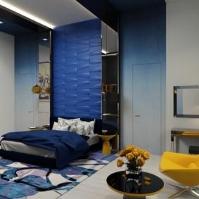 синяя спальня идеи оформления