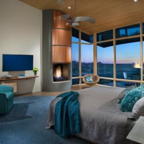 синяя спальня интерьер