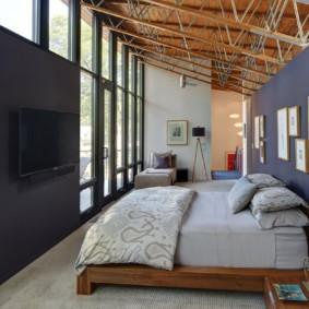 синяя спальня оформление